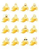 Sixteen banana emojis. Vector illustration of a sixteen banana emojis Stock Photography