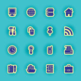 Sixteen black computer icons Stock Photo