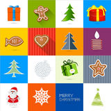 Sixteen Christmas Vector Backgrounds Set. Present, Gift Boxes, Gingerbread Man, Tree, Candle, Santa Claus Icons Stock Image