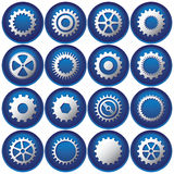 Sixteen Cog Buttons/Icons Royalty Free Stock Photography