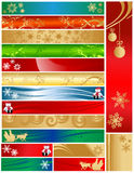 Sixteen Colorful Christmas Holiday Banners. Christmas detailed holiday banners 468x60 120x600 120x170. Colorful decorative designs include snowflakes, ornaments Royalty Free Stock Photo