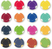 Sixteen colorful poker chips on a white Royalty Free Stock Image