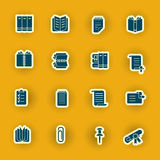 Sixteen computer icons isolated on orange Stock Photo