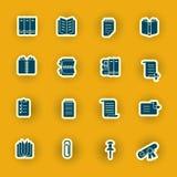 Sixteen computer icons isolated on orange stock illustration