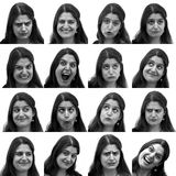 Sixteen different mug shots. 16 diffenrent facial expressions in square shots of a young dark haired woman Royalty Free Stock Photography