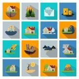 Sixteen Disaster Damage Line Icon Set Royalty Free Stock Photos