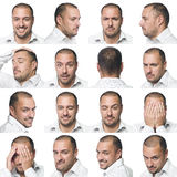 Sixteen facial expressions of a man Royalty Free Stock Photos