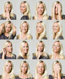 Sixteen facial expressions of a woman. Isolated on a grey background Royalty Free Stock Image