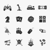 Sixteen flat game icons Stock Images