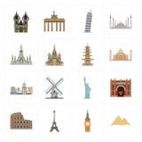 Sixteen flat landmark icons royalty free illustration