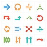 Sixteen flat modern arrows vector illustration