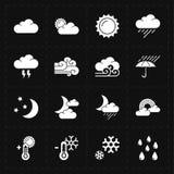 Sixteen flat modern weather icons Stock Image
