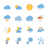 Sixteen flat modern weather icons Royalty Free Stock Photo