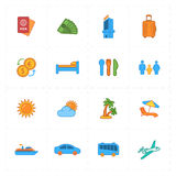 Sixteen flat travel company icons Stock Photo
