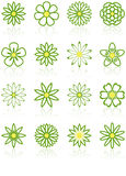 Sixteen Flower Icons. Sixteen Green and Yellow Flower Icons with reflections Stock Photo