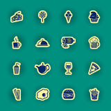 Sixteen food and drink icons Royalty Free Stock Photo