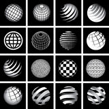 Sixteen Globes in Black and White Stock Photography