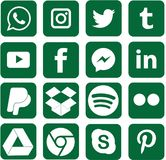 Green colored Social Media Icons For Christmas. Sixteen green colored, favorite social media and web icons for Christmas vector illustration
