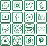 Green colored Social Media Icons For Christmas. Sixteen green colored, outline favorite social media and web icons for Christmas royalty free illustration
