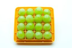 Sixteen Green Grapes in a Square Royalty Free Stock Images