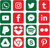 Green and Red colored Social Media Icons For Christmas stock illustration
