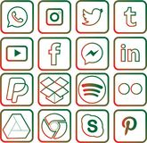 Green and red colored Social Media Icons For Christmas stock photography