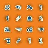 Sixteen Homebuilding And Construction Icons Royalty Free Stock Photography