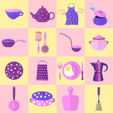 Sixteen Kitchen Tools and Utensils in Set. Each Placed on Cage. Vector Illustration Made in Purple, Pink and Blue Colors with Flat Shadowing. Kitchen Household Royalty Free Stock Images