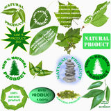 Sixteen labels for natural and organic products Royalty Free Stock Image