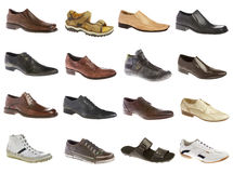 Sixteen man's shoes Stock Photos