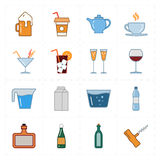 Sixteen modern flat bar icons. This is a vector illustration of sixteen modern flat bar icons Royalty Free Stock Image