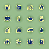 Sixteen oil icon set  on green Royalty Free Stock Photo
