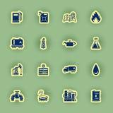 Sixteen oil icon set on green stock illustration