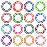 Sixteen plates colored ornaments Stock Photo