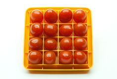 Sixteen Red Cherry Tomatoes in a Square Royalty Free Stock Photography