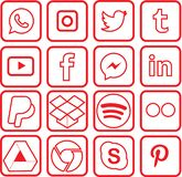 Red colored Social Media Icons For Christmas. Sixteen red colored, outline favorite social media and web icons for Christmas royalty free illustration