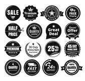 Sixteen Scalable Vintage Badges. Sixteen scalable monochromatic badges in dark color and vintage style Royalty Free Stock Photography