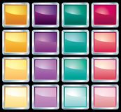 Sixteen square buttons Stock Photo