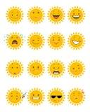 Sixteen sun emojis. Vector illustration of a sixteen sun emojis Royalty Free Stock Image