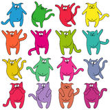 Sixteen thick funny cats. Set of sixteen thick funny cats of different colors, cartoon vector illustration Stock Photography