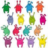 Sixteen thick funny rabbits Stock Photo