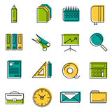 Sixteen thin line colored office icons. Sixteen  colored thin line office icons. Use for web design. Paper and calendar, postal envelope and folder with files Stock Photography