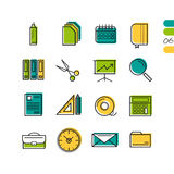 Sixteen thin line colored office icons. Sixteen vector colored thin line office icons. Use for web design. Paper and calendar, postal envelope and folder with Stock Photography