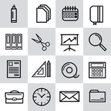 Sixteen thin line office icons. Sixteen  thin line office icons. Web outline icons. Paper and calendar, postal envelope and folder with files Royalty Free Stock Image