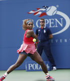 Sixteen times Grand Slam champion Serena Williams during her third round match at US Open 2013 against Yaroslava Shvedova Royalty Free Stock Photos