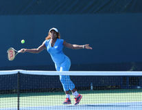 Sixteen times Grand Slam champion Serena Williams practices for US Open 2013 at Billie Jean King National Tennis Center Stock Photography