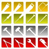Sixteen tool icons Royalty Free Stock Images