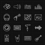 Sixteen universal flat music icons royalty free illustration