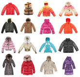 Sixteen winter jackets Stock Photography