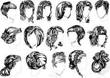 Sixteen woman hairstyles Royalty Free Stock Photo